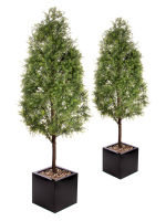 View large Artificial 5ft Tea Tree Pyramid Topiary x 2 - Artificial Silk Plant and Tree Range UK