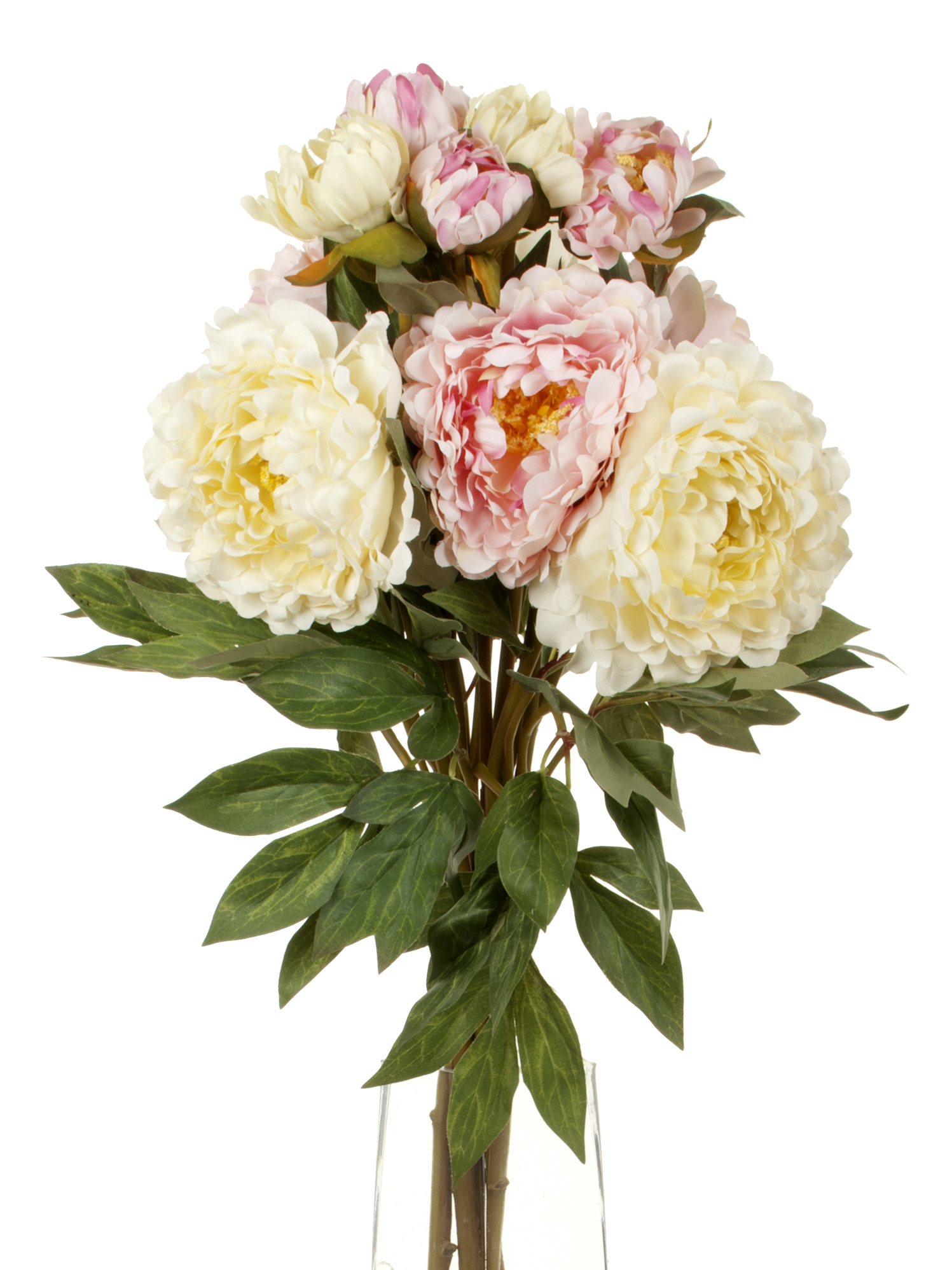 View large Artificial 80cm Single Stem Double Headed Peonies x 6 (3 x White and 3 x Pale Pink) - Artificial Luxury Silk Flower Range UK