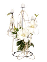 View large Artificial 50cm White Magnolia and Candle Arrangement - Artificial Silk Floral Arrangement and Display Range UK