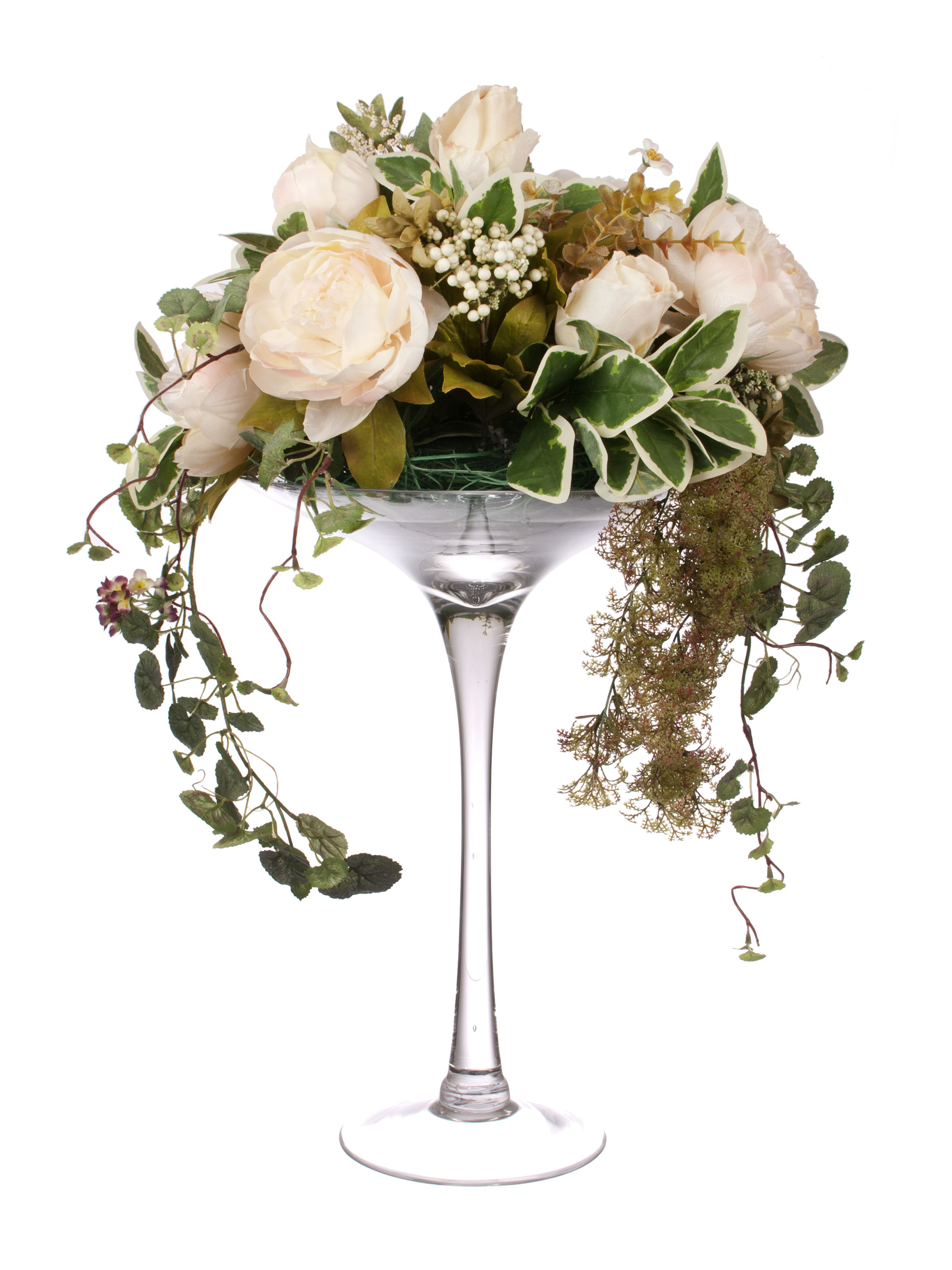 View large Artificial 55cm Blush Pink Rose and Peony Arrangement - Artificial Silk Floral Arrangement and Display Range UK