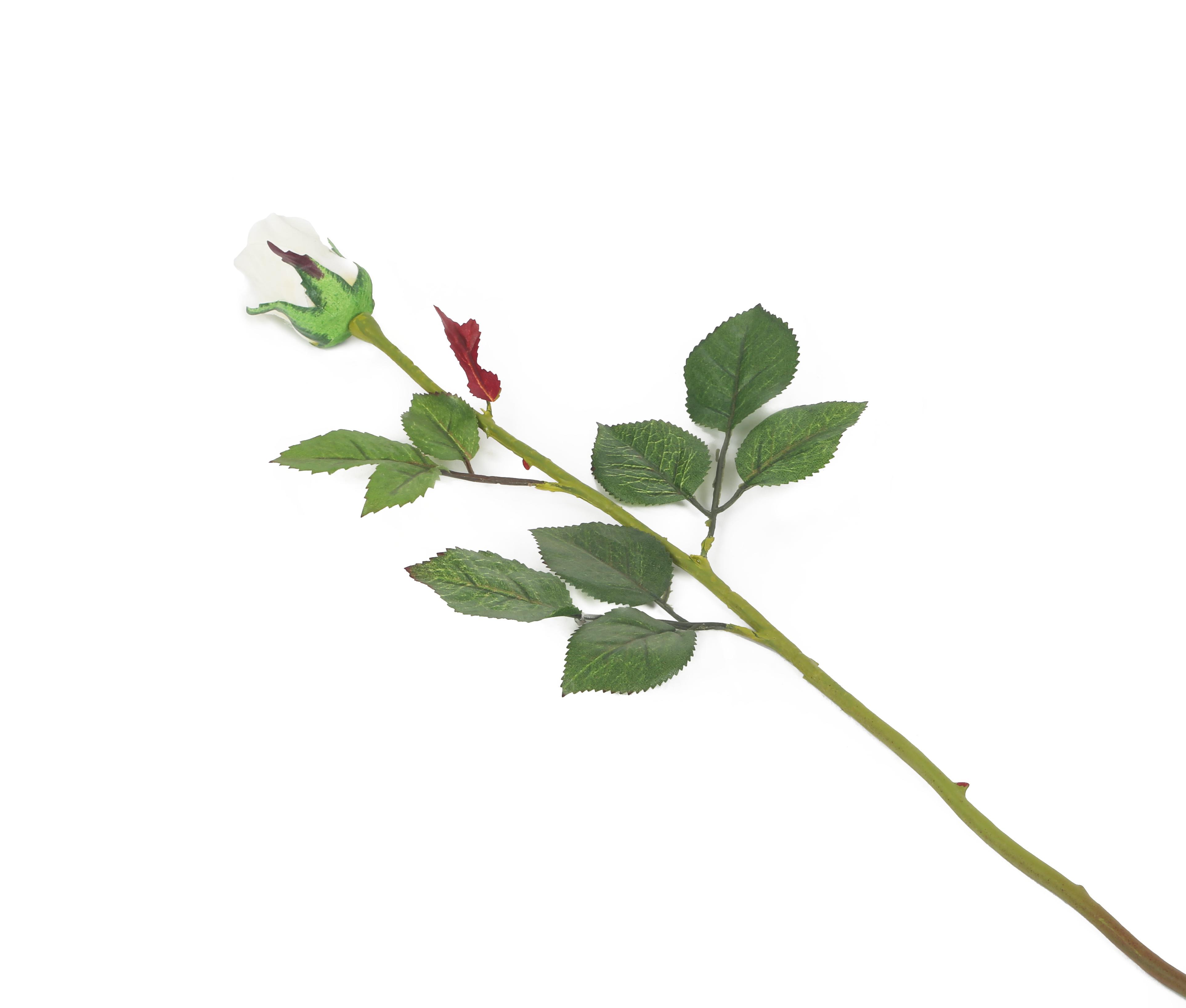 View large Artificial 60cm Single Stem Closed Bud Ivory Rose - Artificial Luxury Silk Flower Range UK