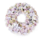 View large Artificial 40cm Lilac Hydrangea Wreath Display - Artificial Silk Floral Arrangement and Display Range UK