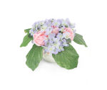 View large Artificial 13cm Pink Rose and Blue Hydrangea Display - Artificial Luxury Silk Flower Range UK