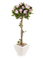 View large Artificial 4ft Pink Rose Tree - Artificial Silk Plant and Tree Range UK