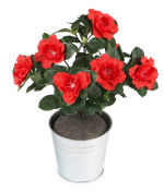View large Artificial 27cm Red Azalea Plug Plant - Artificial Bedding Plug Plant and Display Range UK