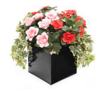 View large Artificial Pink and Red Azalea Display in a 20cm Basalt Black Square Planter - Artificial Bedding Plug Plant and Display Range UK
