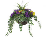 "View large Artificial Purple and Yellow Pansy Display in a 14"" Round Willow Hanging Basket - Artificial Bedding Plug Plant and Display Range UK"