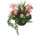 """View large Artificial Pink Geranium Display in a 12"""" Round Willow Hanging Basket - Artificial Bedding Plug Plant and Display Range UK"""