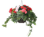 """View large Artificial Red and Pink Geranium and Azalea Display in a 12"""" Round Willow Hanging Basket - Artificial Bedding Plug Plant and Display Range UK"""