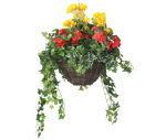 """View large Artificial Red Begonia and Yellow Geranium Display in a 12"""" Round Willow Hanging Basket - Artificial Bedding Plug Plant and Display Range UK"""