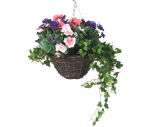 """View large Artificial Purple Pansy, Pink Azalea and Geranium Display in a 12"""" Round Willow Hanging Basket - Artificial Bedding Plug Plant and Display Range UK"""