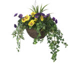 """View large Artificial Yellow and Purple Pansy Display in a 12"""" Round Willow Hanging Basket - Artificial Bedding Plug Plant and Display Range UK"""