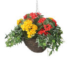"View large Artificial Red and Yellow Begonia Display in a 10"" Round Willow Hanging Basket - Artificial Bedding Plug Plant and Display Range UK"