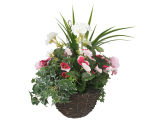 "View large Artificial Pink Pansy and White Geranium Display in a 10"" Round Willow Hanging Basket - Artificial Bedding Plug Plant and Display Range UK"