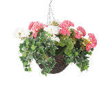 "View large Artificial Pink and White Geranium Display in a 10"" Round Willow Hanging Basket - Artificial Bedding Plug Plant and Display Range UK"