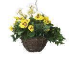 "View large Artificial Yellow Pansy and White Geranium Display in a 10"" Round Willow Hanging Basket - Artificial Bedding Plug Plant and Display Range UK"