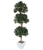 View large Artificial 6ft Bay Tree Ball Topiary - Artificial Silk Plant and Tree Range UK