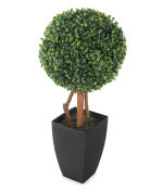 View large Artificial 2ft Boxwood Tree Ball Topiary - Artificial Silk Plant and Tree Range UK